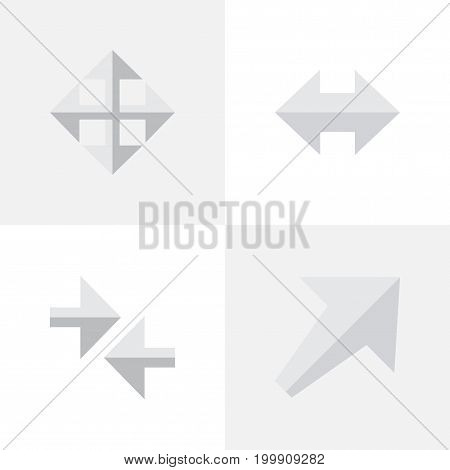 Elements Widen, Export, Southwestward And Other Synonyms Export, Arrow And Import.  Vector Illustration Set Of Simple Pointer Icons.