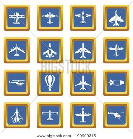 Aviation icons set in blue color isolated vector illustration for web and any design