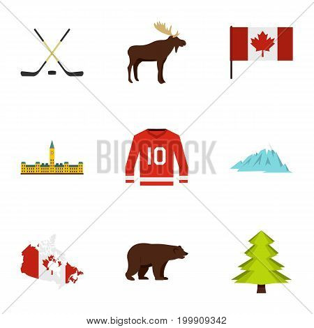 Canada icon set. Flat style set of 9 Canada vector icons for web isolated on white background