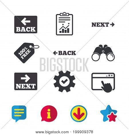 Back and next navigation signs. Arrow direction icons. Browser window, Report and Service signs. Binoculars, Information and Download icons. Stars and Chat. Vector