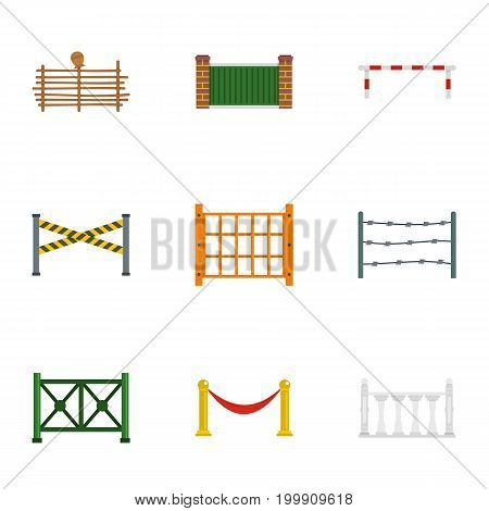 Urban fence icons set. Flat set of 9 urban fence vector icons for web isolated on white background