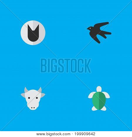 Elements Tomcat, Turtle, Kine And Other Synonyms Tortoise, Tomcat And Cow.  Vector Illustration Set Of Simple Fauna Icons.