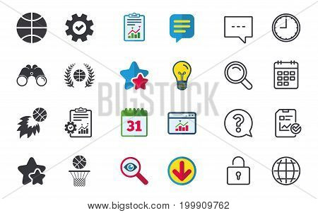 Basketball sport icons. Ball with basket and fireball signs. Laurel wreath symbol. Chat, Report and Calendar signs. Stars, Statistics and Download icons. Question, Clock and Globe. Vector