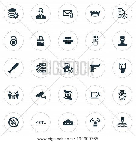 Elements Signal, Gear, Top Secret And Other Synonyms Computer, Parole And Fingerprint.  Vector Illustration Set Of Simple Protection Icons.