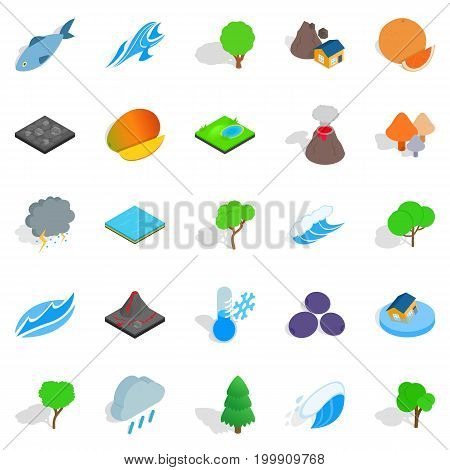 Planet icons set. Isometric set of 25 planet vector icons for web isolated on white background