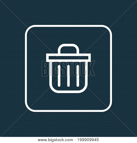 Premium Quality Isolated Trash Can Element In Trendy Style.  Recycle Bin Outline Symbol.