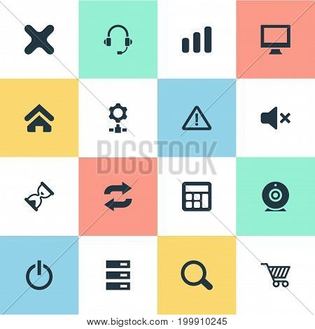 Elements Data Center, Switch Button, Reload And Other Synonyms Screen, Station And Gear.  Vector Illustration Set Of Simple Computer Icons.