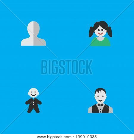 Elements Male, Female, Guy And Other Synonyms Man, Woman And Shape.  Vector Illustration Set Of Simple Profile Icons.
