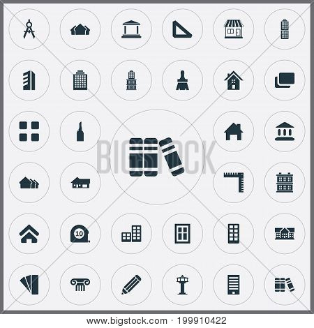 Elements Local Market, Dispatcher Cabin, Building And Other Synonyms Estates, Sample And House.  Vector Illustration Set Of Simple Construction Icons.