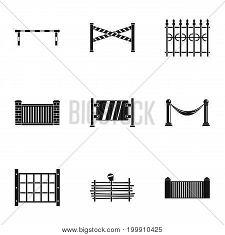 Urban fence icons set. Simple set of 9 urban fence vector icons for web isolated on white background
