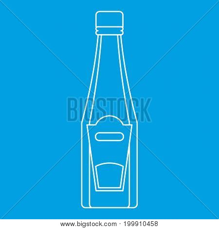 Bottle of ketchup or mustard icon blue outline style isolated vector illustration. Thin line sign