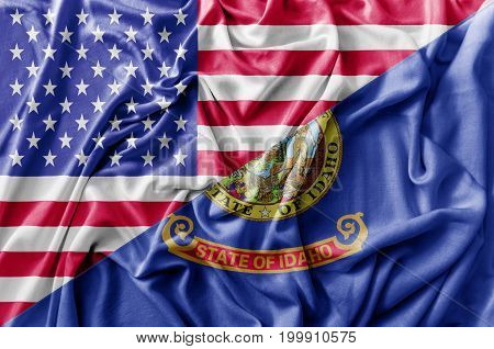 Ruffled waving United States of America and Illinois flag