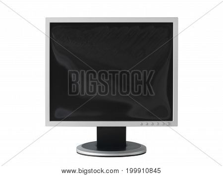 Computer monitor with damage screen (with clipping path) isolated on white background