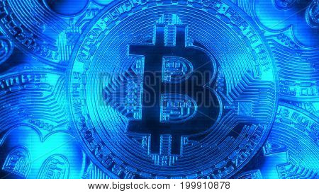 Crypto currency Gold Bitcoin - BTC - Bit Coin. Macro shots crypto currency Bitcoin coins. Holomatrix style.