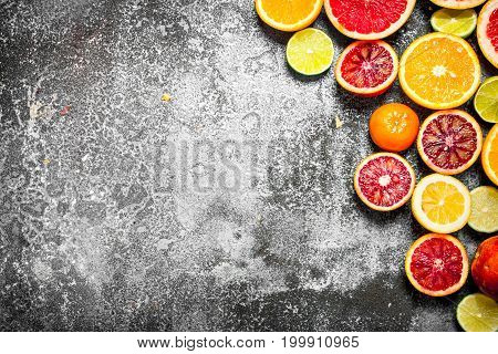 Citrus Background. Fresh Citrus Fruit.