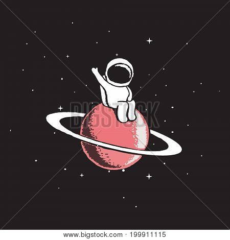 Baby astronaut sits on Saturn and welcomes us.Cosmic character.Space theme vector illustration.Spaceman explore a new planet