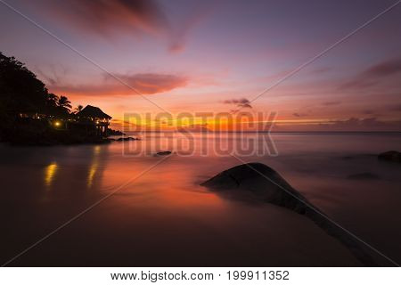 Tropical Beach Sunset, Seychelles