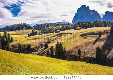 The  Dolomites - World Natural Heritage. The natural landscape of the Alps di Siusi. The concept of walking and eco-tourism
