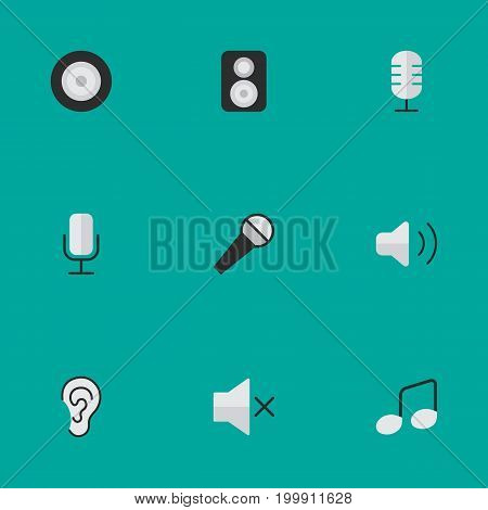 Elements Mike, Volume, Music Sign And Other Synonyms Note, Music And Loudspeakers.  Vector Illustration Set Of Simple Sound Icons.