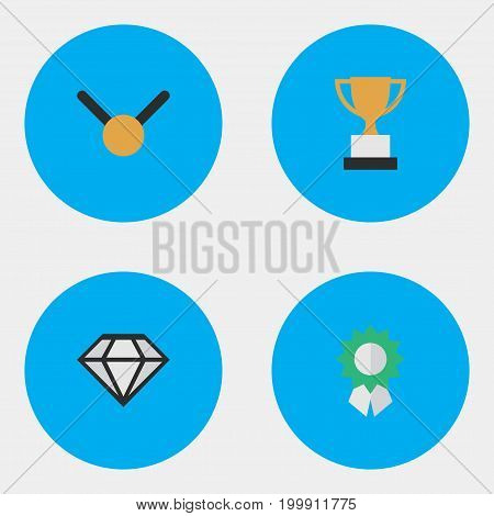 Elements Goblet, Medal, Diamond And Other Synonyms Gold, Medal And Expensive.  Vector Illustration Set Of Simple Trophy Icons.