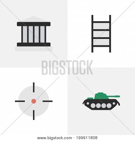 Elements Military, Target, Stairs And Other Synonyms Target, Military And Sniper.  Vector Illustration Set Of Simple Offense Icons.