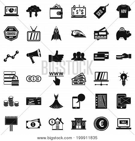 Ecommerce icons set. Simple style of 36 ecommerce vector icons for web isolated on white background