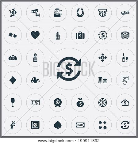 Elements Moneybag, Dollar Swap, Chip And Other Synonyms Rate, Sack And Security.  Vector Illustration Set Of Simple Casino Icons.