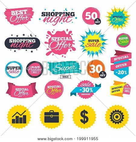 Sale shopping banners. Business icons. Graph chart and case signs. Dollar currency and gear cogwheel symbols. Web badges, splash and stickers. Best offer. Vector