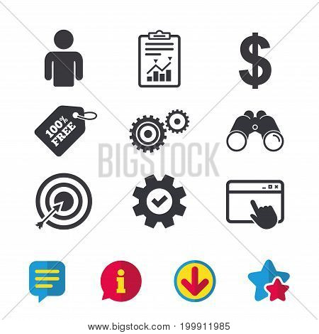 Business icons. Human silhouette and aim targer with arrow signs. Dollar currency and gear symbols. Browser window, Report and Service signs. Binoculars, Information and Download icons. Stars and Chat