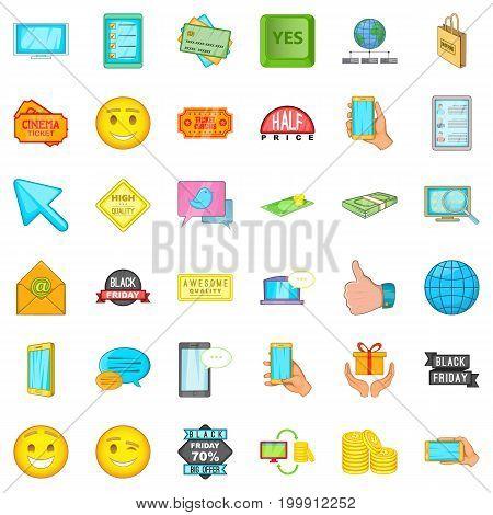 Ecommerce icons set. Cartoon style of 36 ecommerce vector icons for web isolated on white background