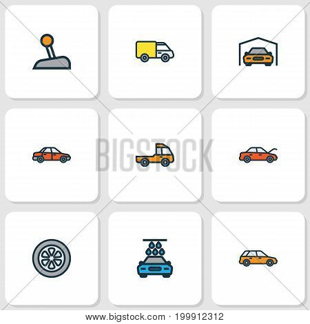 Automobile Colorful Outline Icons Set. Collection Of Machine, Bonnet, Shed And Other Elements