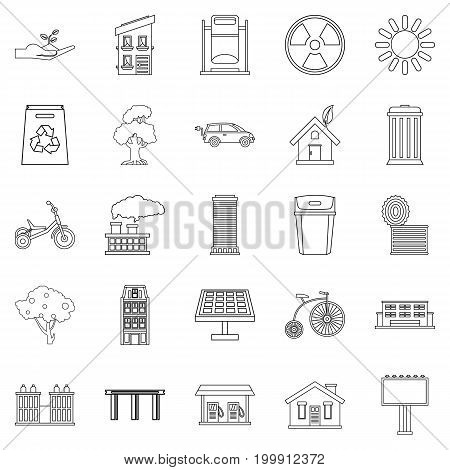 Wind energy icons set. Outline set of 25 wind energy vector icons for web isolated on white background