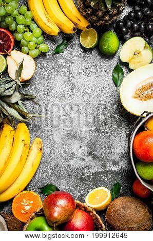 Frame From Fresh Fruits.