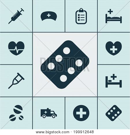 Medicine Icons Set. Collection Of Peck, Mark, Rhythm And Other Elements