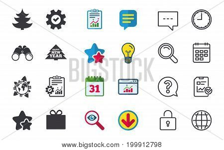 Happy new year icon. Christmas trees and gift box signs. World globe symbol. Chat, Report and Calendar signs. Stars, Statistics and Download icons. Question, Clock and Globe. Vector