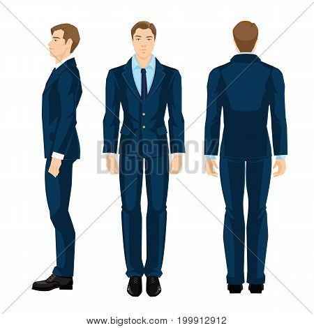 Vector illustration of business man in formal blue shirt and suit isolated on white background. Various turns man's figure. Side view, front and back view