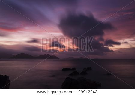 Tropical Seychelles Sunset Long Exposure