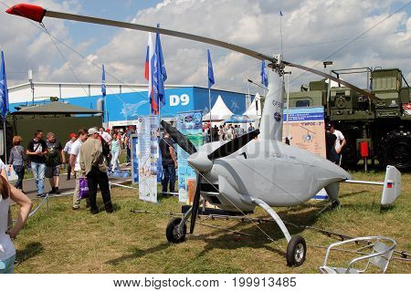 Moscow Region - July 21 2017: Unmanned gyroplane GY 500 at the International Aviation and Space Salon (MAKS) in Zhukovsky.