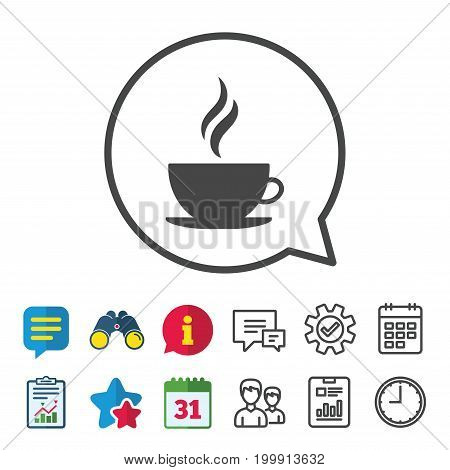 Coffee cup sign icon. Hot coffee button. Hot tea drink with steam. Information, Report and Calendar signs. Group, Service and Chat line icons. Vector