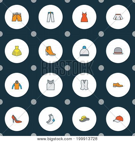 Garment Colorful Outline Icons Set. Collection Of Dress, Female Boots, Sweatshirt And Other Elements