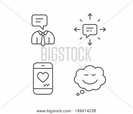 Message, Comic speech bubble and Communication line icons. Social media like, Conversation and SMS signs. Quality design elements. Editable stroke. Vector