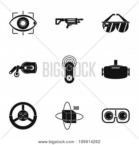 Augmented reality icons set. Simple set of 9 augmented reality vector icons for web isolated on white background