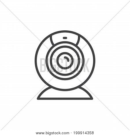 Webcam line icon, outline vector sign, linear style pictogram isolated on white. Video conference camera symbol, logo illustration. Editable stroke. Pixel perfect
