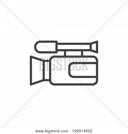 Video camera line icon, outline vector sign, linear style pictogram isolated on white. Camcorder symbol, logo illustration. Editable stroke. Pixel perfect