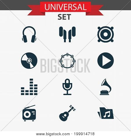 Audio Icons Set. Collection Of Mike, Instrument, Start And Other Elements