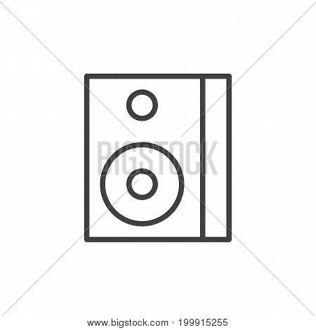 Sound speaker box line icon, outline vector sign, linear style pictogram isolated on white. Symbol, logo illustration. Editable stroke. Pixel perfect