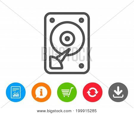 HDD icon. Hard disk storage sign. Hard drive memory symbol. Report, Information and Refresh line signs. Shopping cart and Download icons. Editable stroke. Vector
