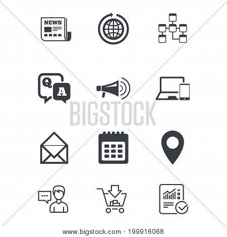 Communication icons. News, chat messages and calendar signs. E-mail, question and answer symbols. Customer service, Shopping cart and Report line signs. Online shopping and Statistics. Vector