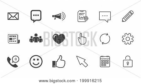 Mail, news icons. Conference, like and group signs. E-mail, chat message and phone call symbols. Chat, Report and Calendar line signs. Service, Pencil and Locker icons. Click, Rotation and Cursor