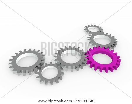 3D Gear Purple Steel Chrom